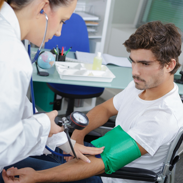 In a patient with paralysis is the acute rise in blood pressure treated?